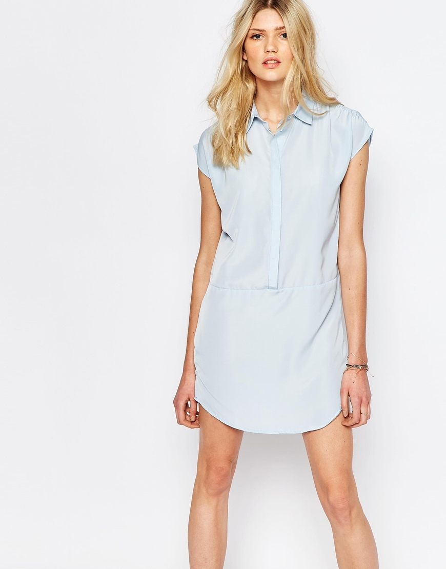 Sleeveless Shirt Dress Cashmere Blue - style: shirt; length: mid thigh; neckline: shirt collar/peter pan/zip with opening; sleeve style: capped; pattern: plain; predominant colour: pale blue; occasions: casual, creative work; fit: body skimming; fibres: polyester/polyamide - 100%; sleeve length: short sleeve; pattern type: fabric; texture group: other - light to midweight; season: a/w 2015