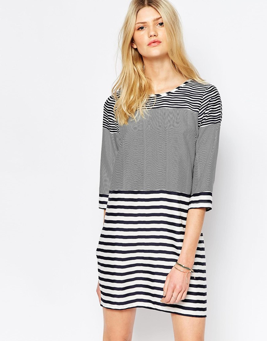 Mixed Stripe 3/4 Sleeve T Shirt Dress Snow White And Total - style: shift; length: mid thigh; neckline: round neck; pattern: horizontal stripes; predominant colour: black; occasions: casual; fit: body skimming; fibres: polyester/polyamide - 100%; sleeve length: 3/4 length; sleeve style: standard; pattern type: fabric; pattern size: standard; texture group: jersey - stretchy/drapey; season: a/w 2015; wardrobe: basic