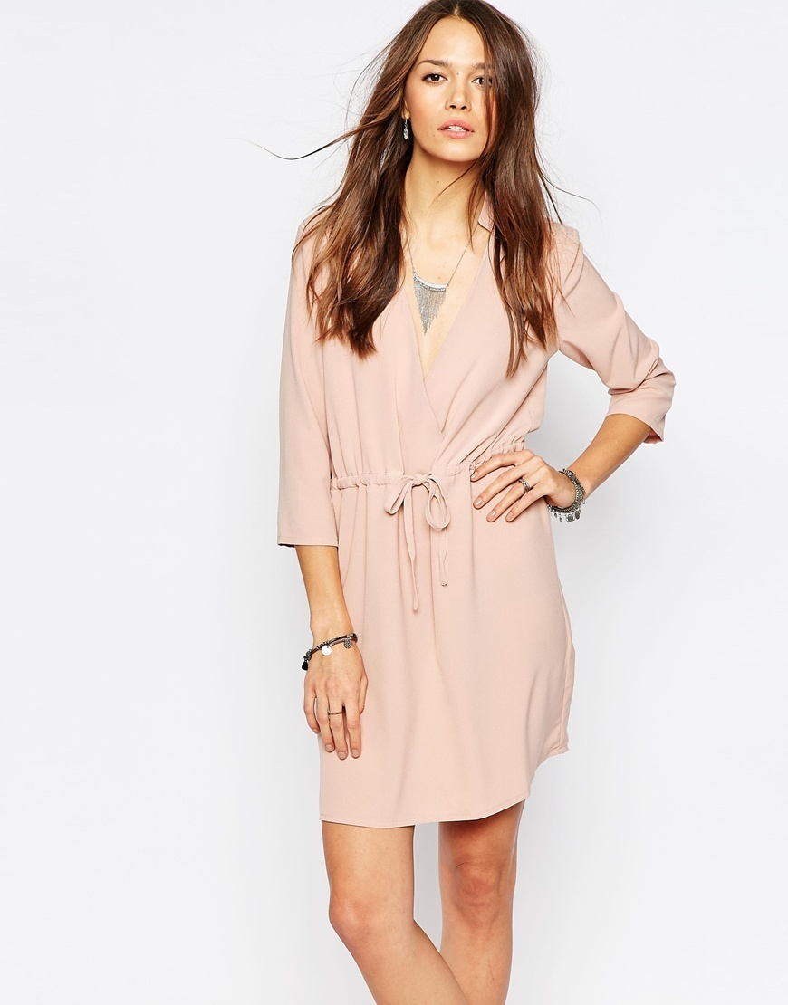 Long Sleeve Wrap Dress Mahogany Rose - style: faux wrap/wrap; length: mid thigh; neckline: shirt collar/peter pan/zip with opening; pattern: plain; waist detail: belted waist/tie at waist/drawstring; predominant colour: blush; fit: body skimming; fibres: polyester/polyamide - 100%; sleeve length: 3/4 length; sleeve style: standard; pattern type: fabric; texture group: other - light to midweight; occasions: creative work; season: a/w 2015