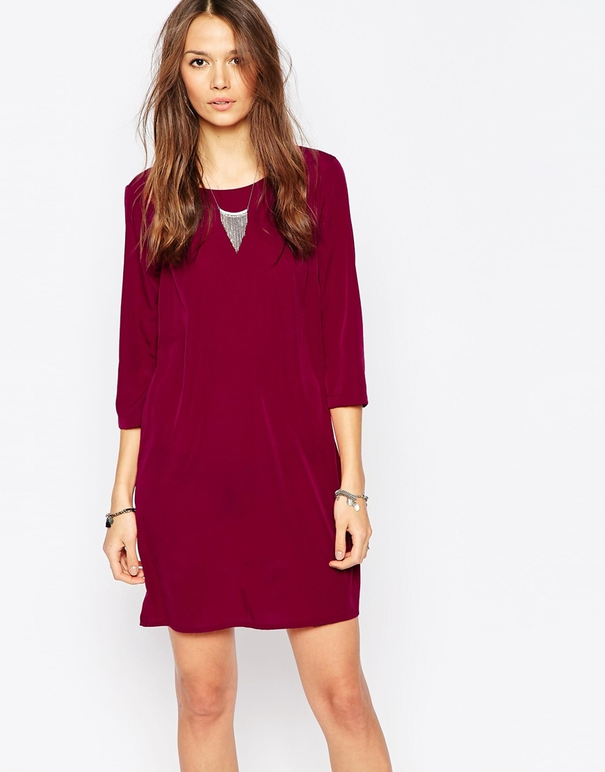 3/4 Sleeve T Shirt Dress Beet Red - style: t-shirt; predominant colour: burgundy; occasions: evening; length: just above the knee; fit: straight cut; fibres: polyester/polyamide - 100%; neckline: crew; sleeve length: 3/4 length; sleeve style: standard; pattern type: fabric; pattern size: light/subtle; pattern: patterned/print; texture group: other - light to midweight; season: a/w 2015; wardrobe: event