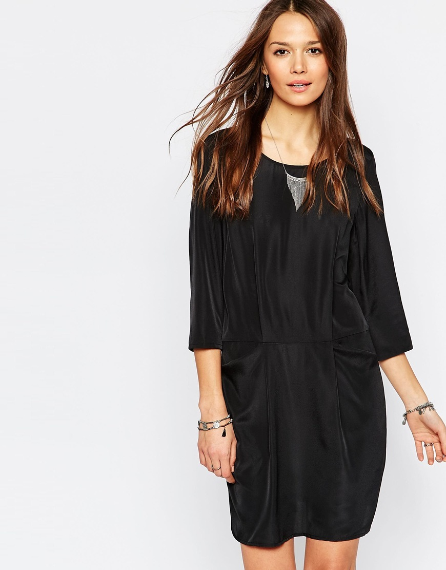 3/4 Sleeve Shift Dress With Front Pockets Black - style: shift; length: mid thigh; neckline: round neck; fit: fitted at waist; pattern: plain; waist detail: elasticated waist; predominant colour: black; occasions: evening; fibres: polyester/polyamide - 100%; sleeve length: 3/4 length; sleeve style: standard; texture group: crepes; pattern type: fabric; season: a/w 2015; wardrobe: event
