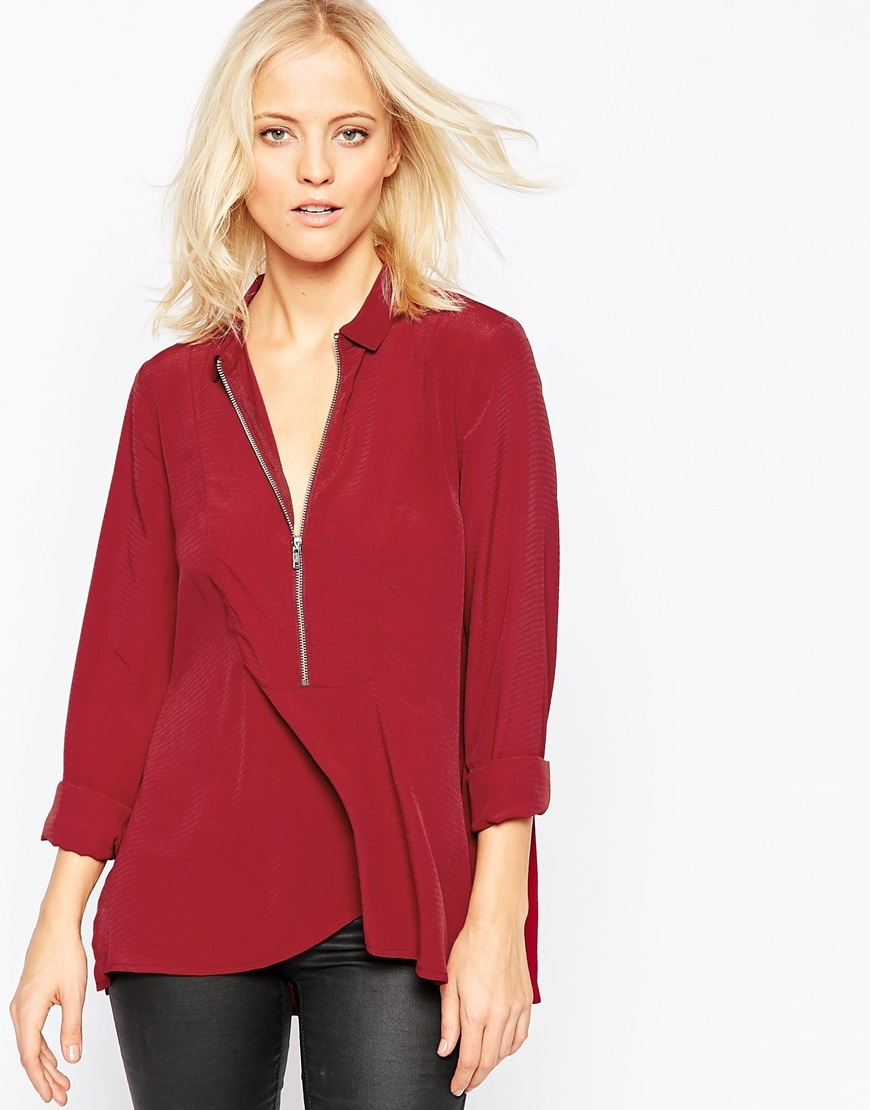Zip Front Top 470 Dark Red - neckline: shirt collar/peter pan/zip with opening; pattern: plain; length: below the bottom; occasions: work; style: top; fibres: polyester/polyamide - 100%; fit: loose; sleeve length: 3/4 length; sleeve style: standard; texture group: sheer fabrics/chiffon/organza etc.; pattern type: fabric; predominant colour: raspberry; season: a/w 2015