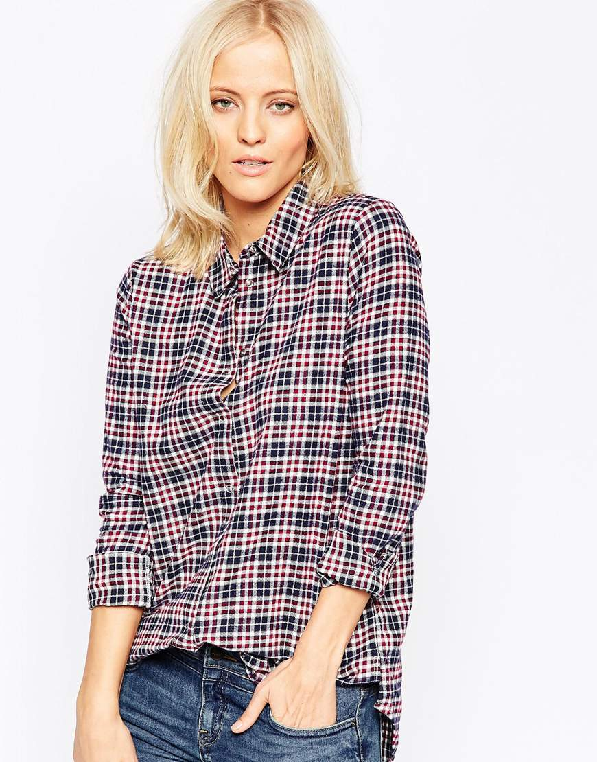 Checked Shirt 470 Dark Red - neckline: shirt collar/peter pan/zip with opening; pattern: checked/gingham; style: shirt; predominant colour: pink; secondary colour: navy; occasions: casual; length: standard; fibres: cotton - 100%; fit: loose; sleeve length: long sleeve; sleeve style: standard; pattern type: fabric; texture group: jersey - stretchy/drapey; multicoloured: multicoloured; season: a/w 2015; wardrobe: highlight