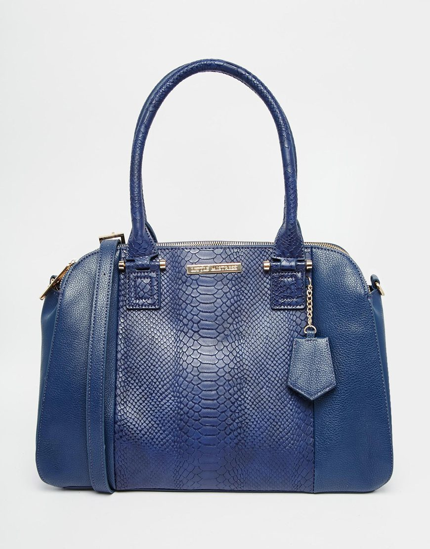 Faux Snakeskin Twin Zip Bag Navy - predominant colour: navy; occasions: casual, creative work; type of pattern: standard; style: tote; length: handle; size: standard; material: faux leather; pattern: plain; finish: plain; season: a/w 2015; wardrobe: investment