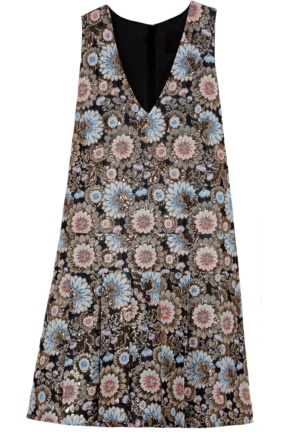Collection Metallic Floral Jacquard Dress Black - style: shift; neckline: low v-neck; sleeve style: standard vest straps/shoulder straps; predominant colour: pale blue; secondary colour: taupe; occasions: casual, creative work; length: just above the knee; fit: soft a-line; fibres: nylon - mix; sleeve length: sleeveless; pattern type: fabric; pattern size: big & busy; pattern: patterned/print; texture group: brocade/jacquard; multicoloured: multicoloured; season: a/w 2015