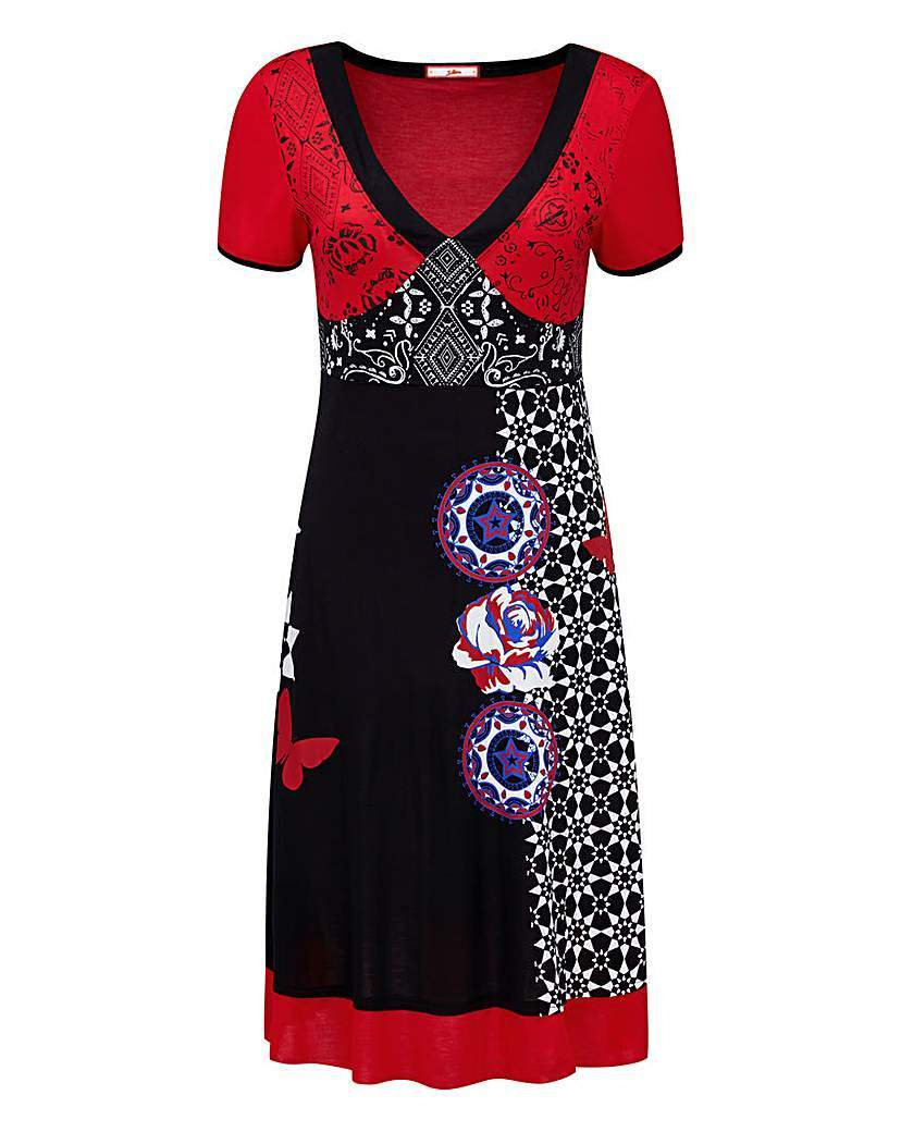 Joe Browns Tribal Print V Neck Dress - style: shift; neckline: low v-neck; secondary colour: true red; predominant colour: black; occasions: casual; length: just above the knee; fit: soft a-line; fibres: cotton - stretch; sleeve length: short sleeve; sleeve style: standard; pattern type: fabric; pattern size: standard; pattern: patterned/print; texture group: other - light to midweight; season: a/w 2015; wardrobe: highlight
