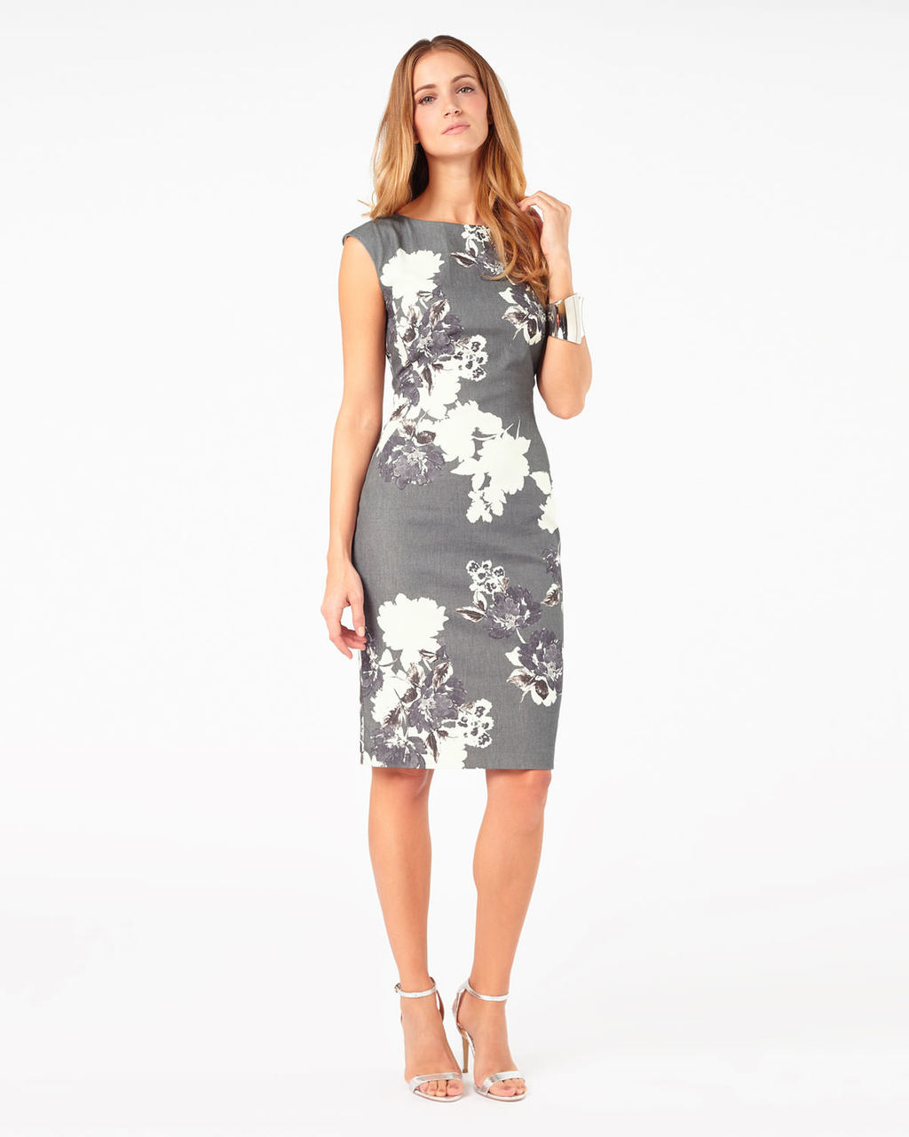 Analise Print Dress - style: shift; length: below the knee; neckline: round neck; sleeve style: capped; fit: tailored/fitted; hip detail: fitted at hip; secondary colour: white; predominant colour: mid grey; fibres: polyester/polyamide - stretch; occasions: occasion; sleeve length: sleeveless; pattern type: fabric; pattern size: standard; pattern: florals; texture group: woven light midweight; season: a/w 2015