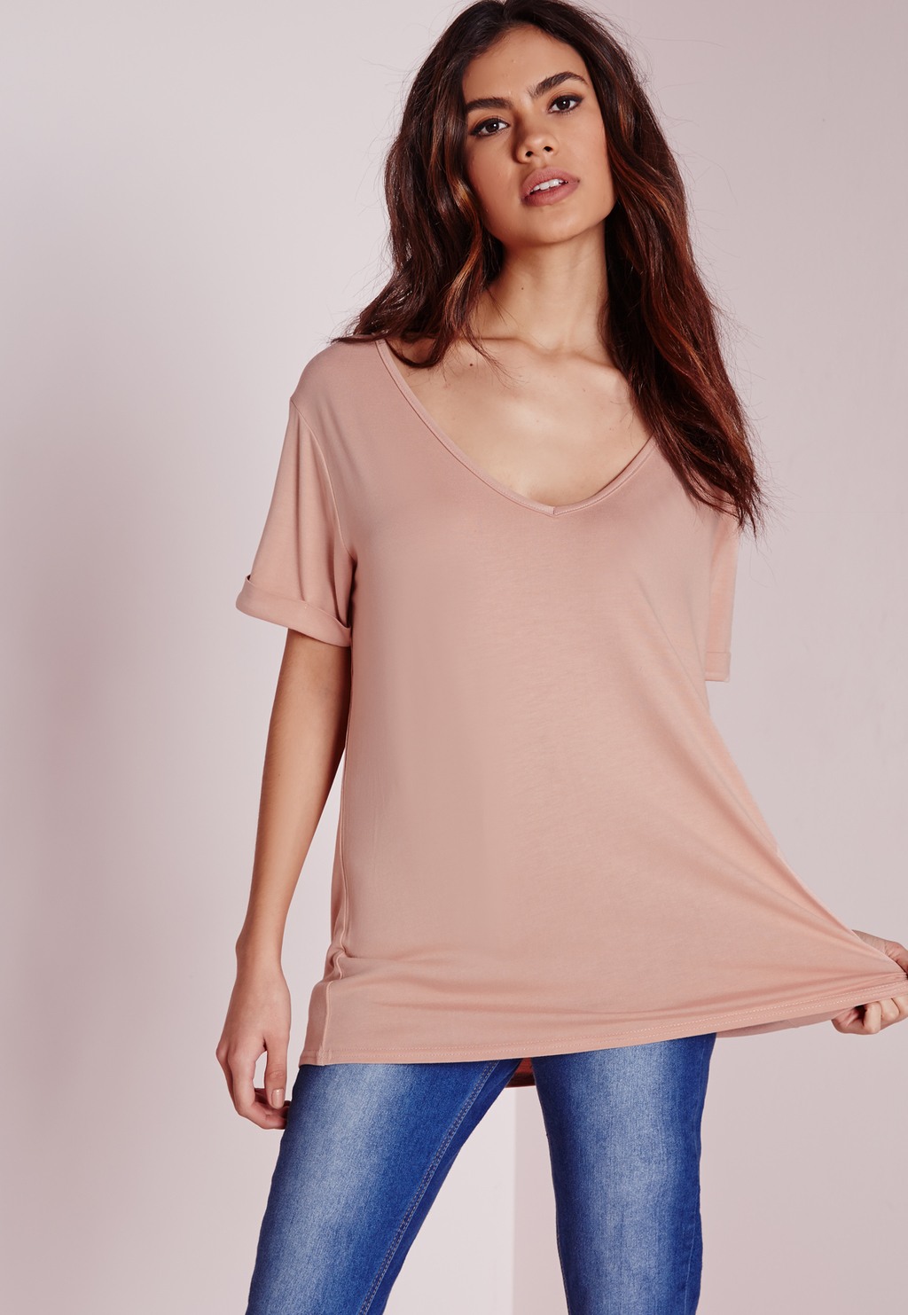 Petite Boyfriend V Neck T Shirt Nude, Beige - neckline: low v-neck; pattern: plain; length: below the bottom; style: t-shirt; predominant colour: nude; occasions: casual; fibres: polyester/polyamide - stretch; fit: loose; sleeve length: short sleeve; sleeve style: standard; pattern type: fabric; texture group: jersey - stretchy/drapey; season: a/w 2015; wardrobe: basic