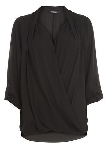 Womens **Tall Black Wrap Rollsleeve Shirt Black - neckline: low v-neck; pattern: plain; style: blouse; bust detail: subtle bust detail; predominant colour: black; occasions: evening, creative work; length: standard; fibres: polyester/polyamide - 100%; fit: loose; sleeve length: 3/4 length; sleeve style: standard; texture group: crepes; pattern type: fabric; season: a/w 2015; wardrobe: basic