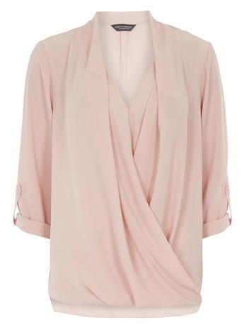 Womens **Tall Blush Wrap Rollsleeve Shirt Nude - neckline: low v-neck; pattern: plain; style: blouse; predominant colour: blush; occasions: casual, creative work; length: standard; fibres: polyester/polyamide - 100%; fit: loose; sleeve length: 3/4 length; sleeve style: standard; texture group: crepes; bust detail: tiers/frills/bulky drapes/pleats; pattern type: fabric; season: a/w 2015; trends: pink aw 15; wardrobe: highlight