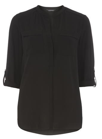 Womens **Tall Black 2 Pocket Shirt Black - pattern: plain; style: blouse; predominant colour: black; occasions: casual, creative work; length: standard; neckline: collarstand; fibres: polyester/polyamide - 100%; fit: straight cut; sleeve length: 3/4 length; sleeve style: standard; texture group: crepes; bust detail: bulky details at bust; pattern type: fabric; season: a/w 2015; wardrobe: basic