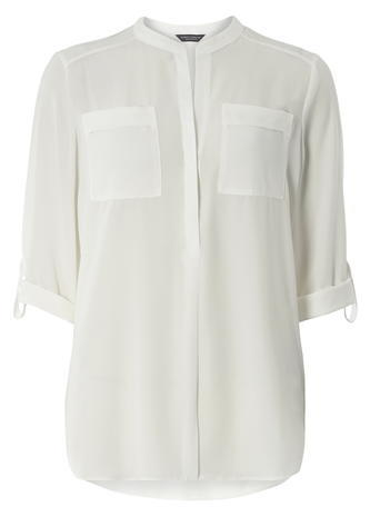 Womens **Tall Ivory 2 Pocket Shirt White - neckline: round neck; pattern: plain; length: below the bottom; style: blouse; predominant colour: white; occasions: casual, creative work; fibres: polyester/polyamide - 100%; fit: straight cut; sleeve length: 3/4 length; sleeve style: standard; texture group: cotton feel fabrics; pattern type: fabric; season: a/w 2015; wardrobe: basic
