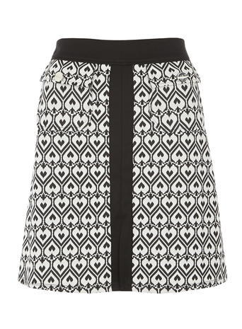 Womens Monochrome Heart Textured A Line Skirt Black - length: mid thigh; fit: body skimming; waist: high rise; predominant colour: black; occasions: casual, creative work; style: a-line; fibres: polyester/polyamide - stretch; waist detail: feature waist detail; pattern type: fabric; pattern: patterned/print; texture group: woven light midweight; pattern size: big & busy (bottom); season: a/w 2015; wardrobe: highlight