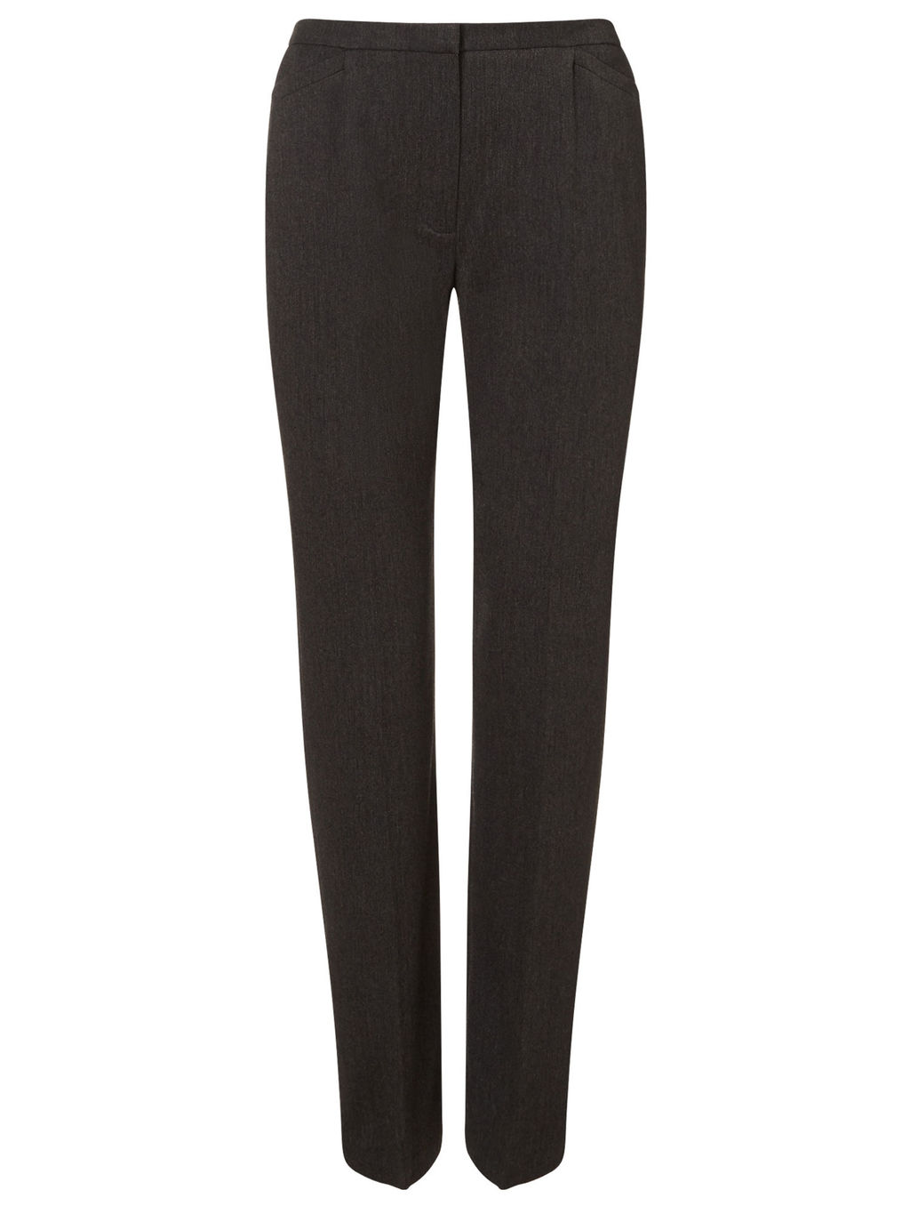 Charcoal Straight Leg Trouser - length: standard; pattern: plain; waist: mid/regular rise; predominant colour: charcoal; occasions: work; fibres: polyester/polyamide - stretch; fit: straight leg; pattern type: fabric; texture group: woven light midweight; style: standard; season: s/s 2016; wardrobe: basic