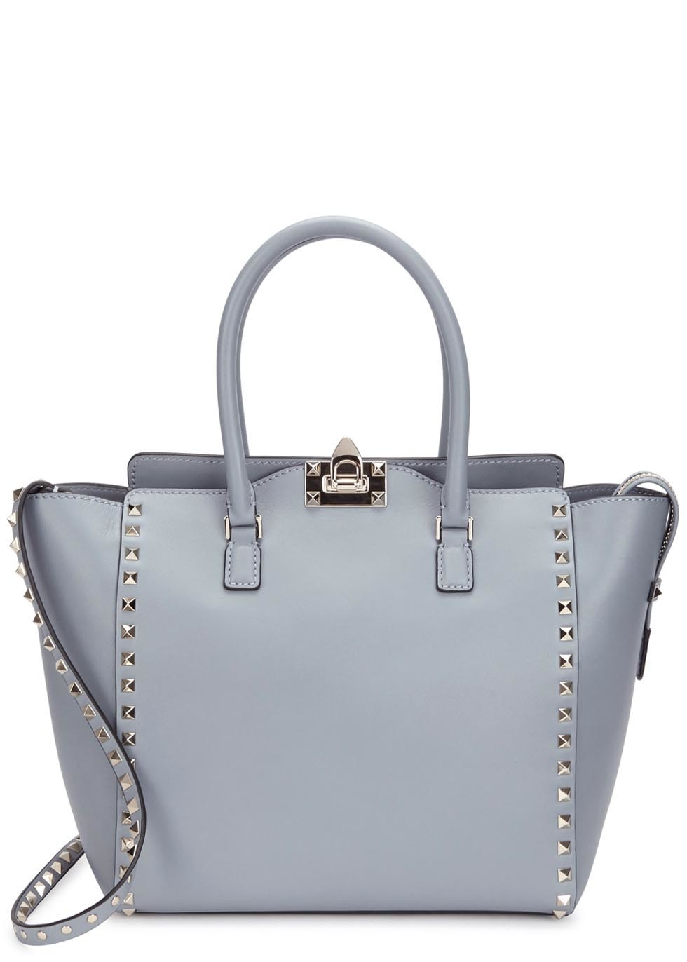 Rockstud Grey Leather Tote - secondary colour: gold; predominant colour: light grey; occasions: casual, creative work; type of pattern: standard; style: tote; length: handle; size: standard; material: leather; pattern: plain; finish: plain; season: a/w 2015; wardrobe: investment