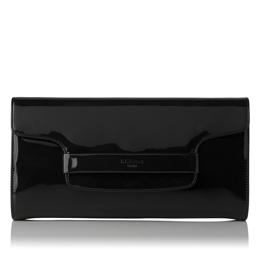 Laura Black Patent Clutch Bag - predominant colour: black; occasions: evening; type of pattern: standard; style: clutch; length: hand carry; size: small; material: leather; pattern: plain; finish: patent; season: a/w 2015; wardrobe: event