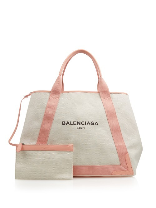 Navy Cabas M Cotton Canvas Shopper - secondary colour: white; predominant colour: pink; occasions: casual, holiday; type of pattern: standard; style: tote; length: handle; size: standard; material: fabric; pattern: plain; finish: plain; multicoloured: multicoloured; season: a/w 2015; wardrobe: highlight