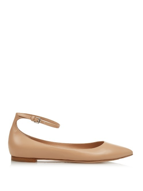 Gia Point Toe Leather Flats - predominant colour: nude; occasions: casual, work, creative work; material: leather; heel height: flat; ankle detail: ankle strap; toe: pointed toe; style: ballerinas / pumps; finish: plain; pattern: plain; season: a/w 2015