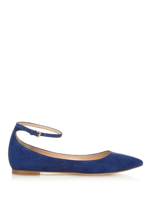 Gia Point Toe Suede Flats - predominant colour: royal blue; occasions: casual, work, creative work; material: suede; heel height: flat; ankle detail: ankle strap; toe: pointed toe; style: ballerinas / pumps; finish: plain; pattern: plain; season: a/w 2015; wardrobe: highlight