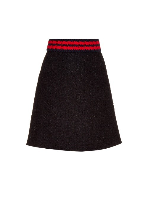 A Line Bouclé Skirt - fit: loose/voluminous; waist: high rise; predominant colour: true red; secondary colour: black; occasions: casual; length: just above the knee; style: a-line; fibres: polyester/polyamide - stretch; waist detail: feature waist detail; pattern type: fabric; texture group: woven light midweight; pattern size: standard (bottom); pattern: horizontal stripes (bottom); season: a/w 2015; wardrobe: highlight