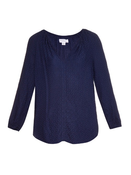 Alissa Jacquard Blouse - neckline: v-neck; pattern: plain; style: blouse; predominant colour: navy; occasions: casual; length: standard; fibres: viscose/rayon - 100%; fit: body skimming; sleeve length: long sleeve; sleeve style: standard; pattern type: fabric; texture group: jersey - stretchy/drapey; season: a/w 2015; wardrobe: basic