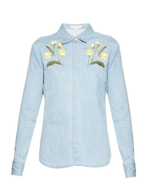 Theres Botanical Denim Shirt - neckline: shirt collar/peter pan/zip with opening; pattern: plain; bust detail: added detail/embellishment at bust; style: shirt; predominant colour: pale blue; occasions: casual, creative work; length: standard; fibres: cotton - 100%; fit: body skimming; sleeve length: long sleeve; sleeve style: standard; texture group: denim; pattern type: fabric; embellishment: embroidered; multicoloured: multicoloured; season: a/w 2015; wardrobe: highlight