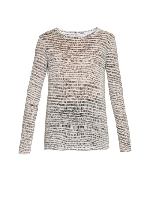 Long Sleeved Printed Jersey Top - pattern: horizontal stripes; secondary colour: ivory/cream; predominant colour: taupe; occasions: casual; length: standard; style: top; fibres: viscose/rayon - stretch; fit: body skimming; neckline: crew; sleeve length: long sleeve; sleeve style: standard; pattern type: fabric; pattern size: light/subtle; texture group: jersey - stretchy/drapey; season: a/w 2015; wardrobe: basic