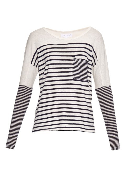 Ario Striped Jersey T Shirt - neckline: round neck; pattern: horizontal stripes; style: t-shirt; secondary colour: white; predominant colour: navy; occasions: casual; length: standard; fibres: cotton - 100%; fit: body skimming; sleeve length: long sleeve; sleeve style: standard; pattern type: fabric; pattern size: standard; texture group: jersey - stretchy/drapey; season: a/w 2015; wardrobe: basic