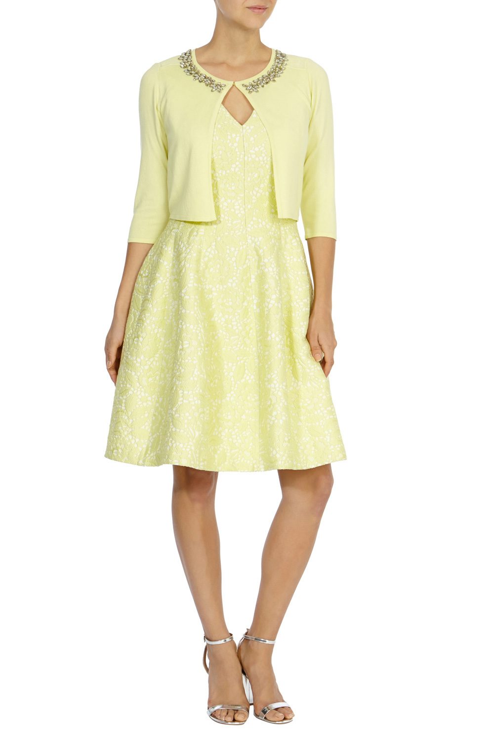 Chrissi Embellished Cover Up - neckline: round neck; pattern: plain; style: bolero/shrug; length: cropped; predominant colour: primrose yellow; fibres: viscose/rayon - 100%; occasions: occasion; fit: slim fit; sleeve length: 3/4 length; sleeve style: standard; texture group: knits/crochet; pattern type: knitted - fine stitch; embellishment: sequins; season: a/w 2015