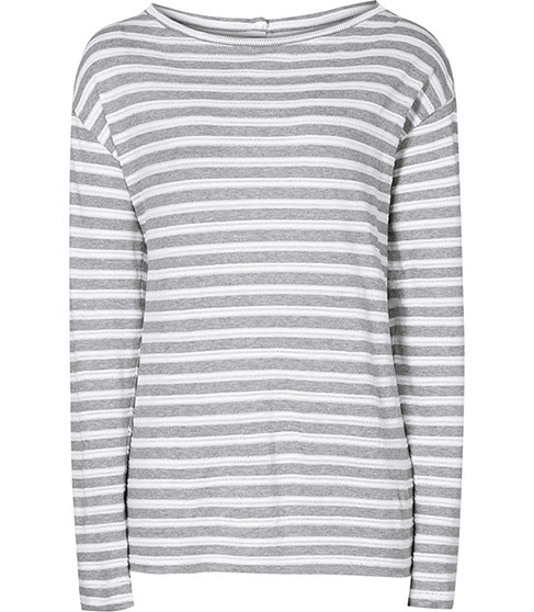 Quinnine Striped Jersey Top - neckline: round neck; sleeve style: dolman/batwing; pattern: horizontal stripes; secondary colour: white; predominant colour: mid grey; occasions: casual; length: standard; style: top; fit: body skimming; sleeve length: long sleeve; pattern type: fabric; pattern size: standard; texture group: jersey - stretchy/drapey; fibres: viscose/rayon - mix; season: a/w 2015; wardrobe: basic