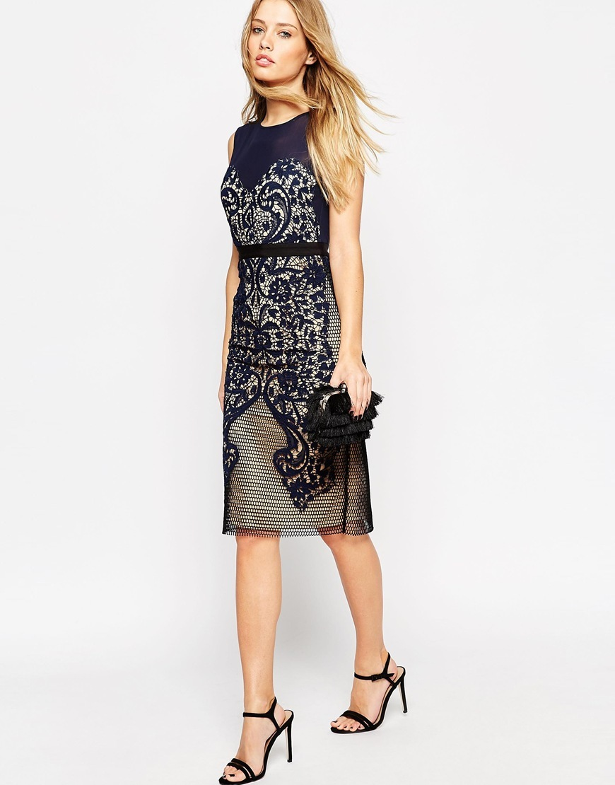 Lace Embroidered Panelled Midi Bodycon Dress Navy - style: shift; sleeve style: sleeveless; predominant colour: navy; secondary colour: stone; occasions: evening; length: on the knee; fit: body skimming; fibres: polyester/polyamide - 100%; neckline: crew; sleeve length: sleeveless; texture group: lace; pattern type: fabric; pattern size: standard; pattern: patterned/print; season: a/w 2015