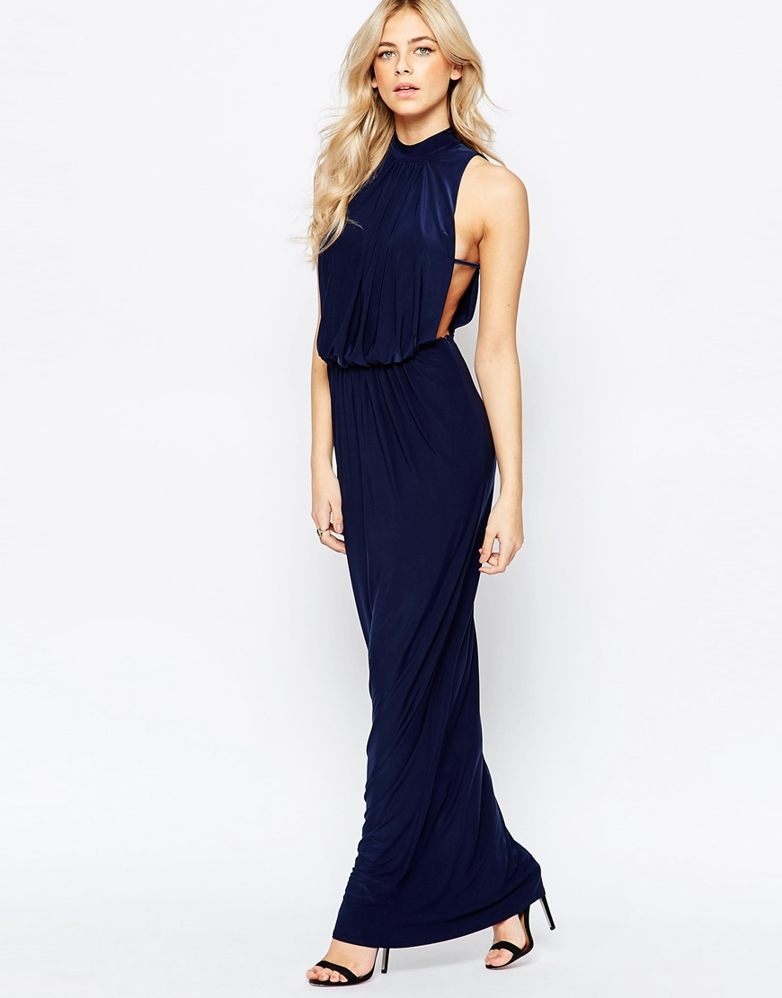 High Neck Draped Maxi Dress Navy - pattern: plain; sleeve style: sleeveless; style: maxi dress; neckline: high neck; waist detail: fitted waist; back detail: back revealing; bust detail: subtle bust detail; predominant colour: navy; occasions: evening; length: floor length; fit: body skimming; fibres: polyester/polyamide - stretch; sleeve length: sleeveless; pattern type: fabric; texture group: jersey - stretchy/drapey; season: a/w 2015; wardrobe: event