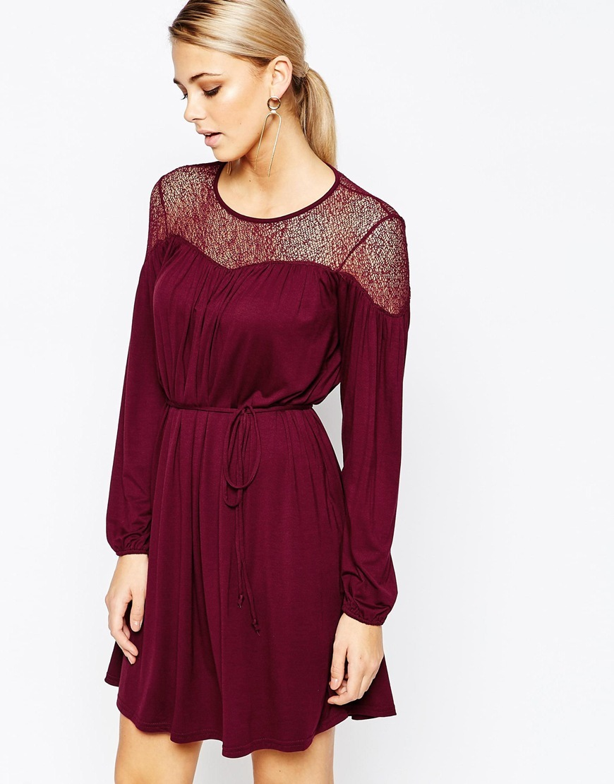 Lace Detail Dress Berry - style: shift; length: mid thigh; neckline: strapless (straight/sweetheart); pattern: plain; bust detail: sheer at bust; waist detail: belted waist/tie at waist/drawstring; predominant colour: burgundy; occasions: evening; fit: body skimming; fibres: viscose/rayon - stretch; back detail: keyhole/peephole detail at back; sleeve length: long sleeve; sleeve style: standard; pattern type: fabric; texture group: woven light midweight; embellishment: lace; season: a/w 2015; trends: romantic goth; wardrobe: event