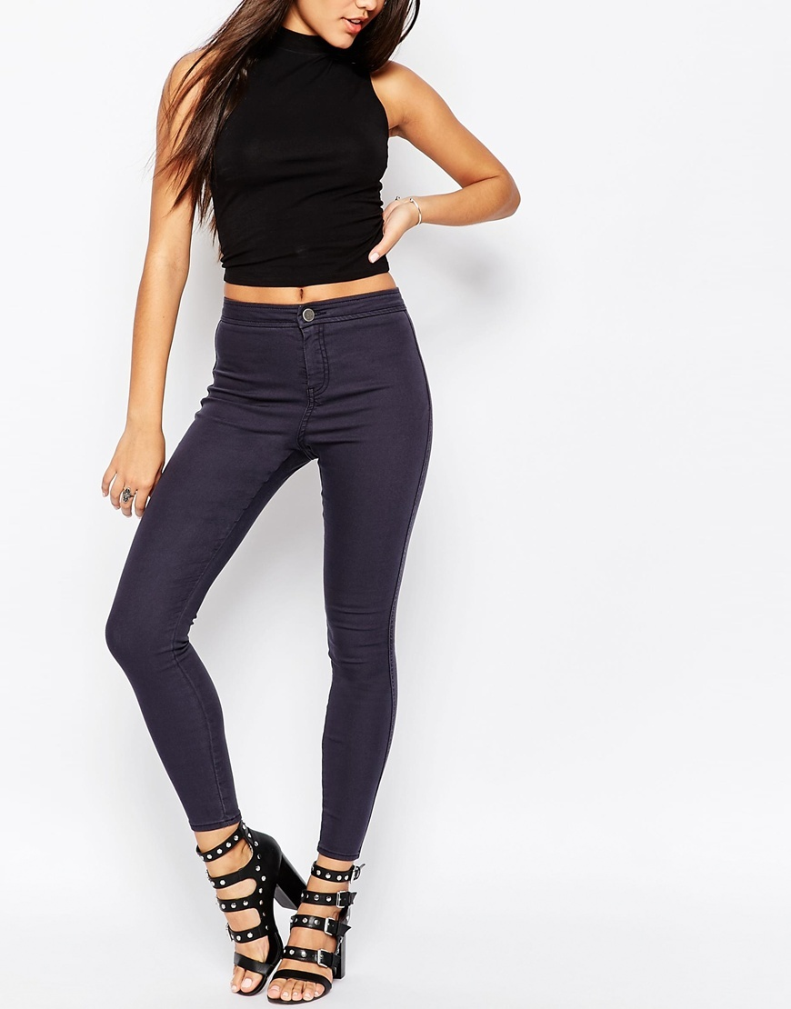 Rivington High Waisted Denim Jeggings In Ink Grey Wash Ink Grey - style: skinny leg; length: standard; pattern: plain; waist: high rise; predominant colour: charcoal; occasions: casual; fibres: cotton - stretch; jeans detail: dark wash; texture group: denim; pattern type: fabric; season: a/w 2015