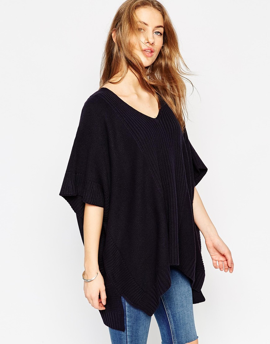Oversized Poncho With V Neck In Mixed Stitches Navy - neckline: v-neck; sleeve style: dolman/batwing; pattern: plain; length: below the bottom; predominant colour: black; occasions: casual; style: top; fibres: acrylic - 100%; fit: loose; sleeve length: 3/4 length; texture group: knits/crochet; pattern type: fabric; season: a/w 2015; wardrobe: basic