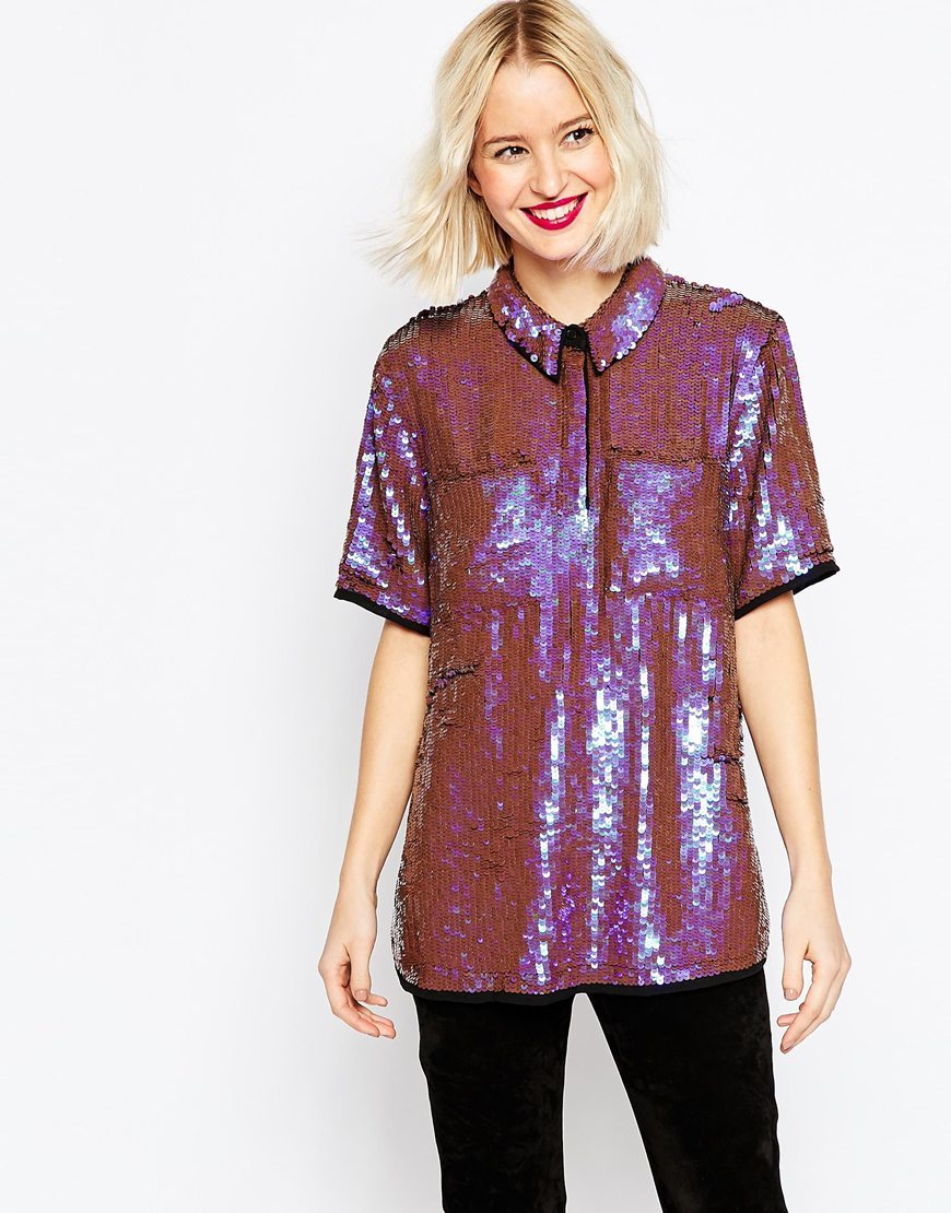 Sequin Shirt Multi - neckline: shirt collar/peter pan/zip with opening; pattern: plain; style: shirt; predominant colour: purple; occasions: evening; length: standard; fibres: polyester/polyamide - 100%; fit: loose; sleeve length: short sleeve; sleeve style: standard; texture group: ornate wovens; pattern type: fabric; embellishment: sequins; season: a/w 2015; wardrobe: event