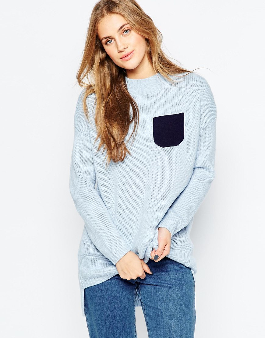 Chunky Tunic Jumper With Patch Pocket Blue - neckline: round neck; pattern: plain; length: below the bottom; style: standard; predominant colour: pale blue; occasions: casual; fibres: acrylic - 100%; fit: standard fit; sleeve length: long sleeve; sleeve style: standard; texture group: knits/crochet; pattern type: knitted - fine stitch; season: a/w 2015; wardrobe: highlight