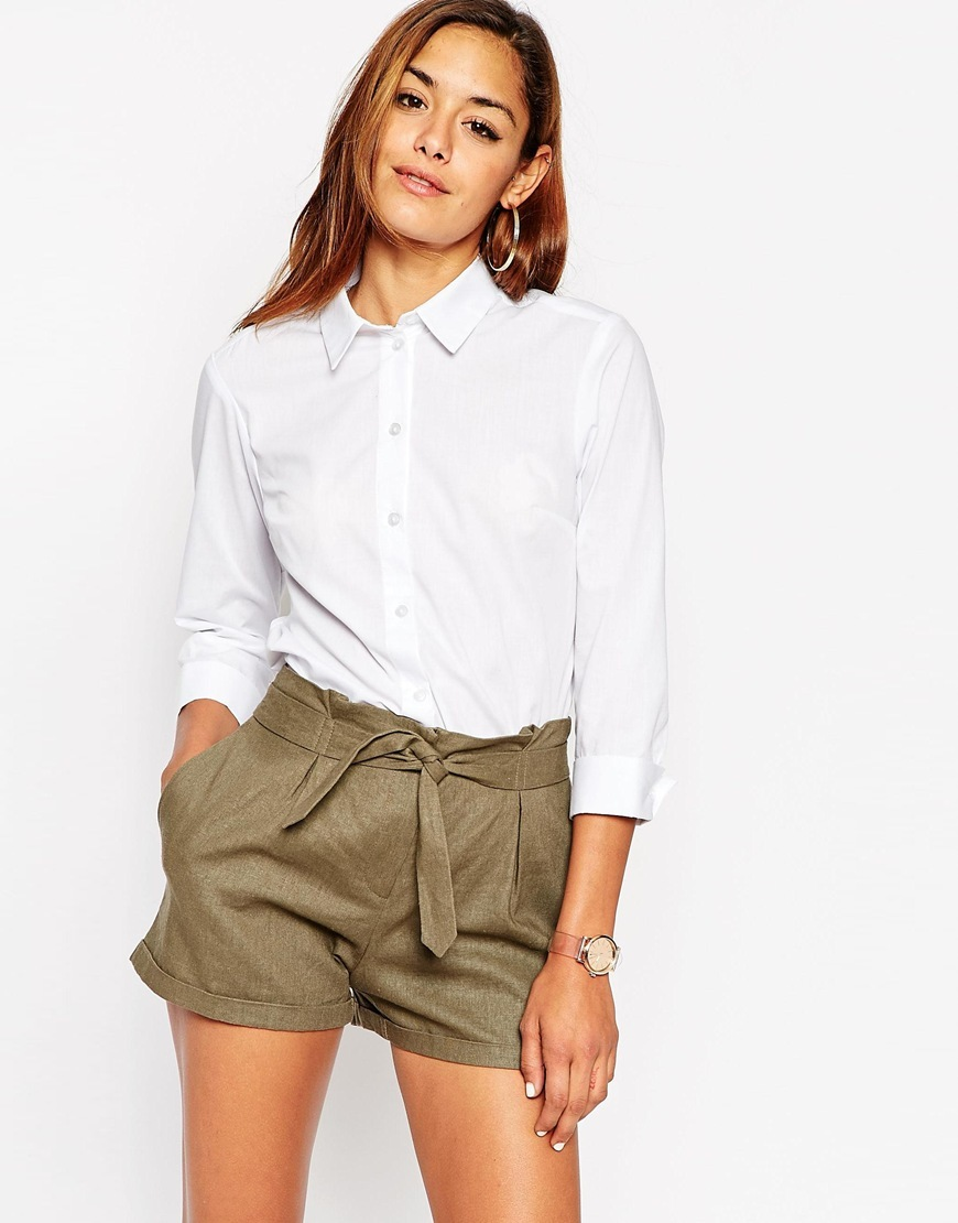 3/4 Sleeve White Shirt White - neckline: shirt collar/peter pan/zip with opening; pattern: plain; style: shirt; predominant colour: white; occasions: work; length: standard; fibres: polyester/polyamide - mix; fit: body skimming; sleeve length: 3/4 length; sleeve style: standard; texture group: cotton feel fabrics; pattern type: fabric; season: a/w 2015; wardrobe: basic