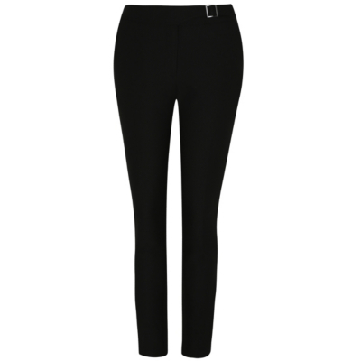 Textured Trousers Black - length: standard; pattern: plain; waist: mid/regular rise; predominant colour: black; occasions: work; fibres: polyester/polyamide - 100%; fit: slim leg; pattern type: fabric; texture group: woven light midweight; style: standard; season: a/w 2015; wardrobe: basic