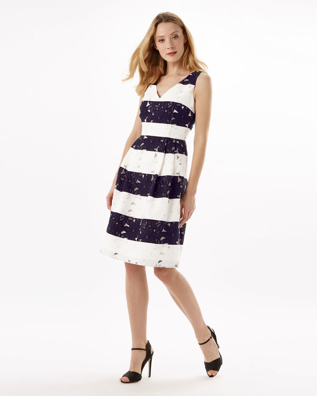 Bea Stripe Dress - neckline: v-neck; pattern: horizontal stripes; sleeve style: sleeveless; waist detail: fitted waist; secondary colour: white; predominant colour: black; occasions: evening; length: on the knee; fit: fitted at waist & bust; style: fit & flare; fibres: cotton - mix; hip detail: structured pleats at hip; sleeve length: sleeveless; trends: monochrome; pattern type: fabric; texture group: other - light to midweight; multicoloured: multicoloured; season: a/w 2015