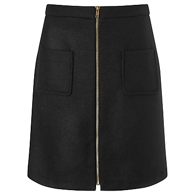 Drue Wool Skirt, Black - pattern: plain; style: straight; waist: high rise; predominant colour: black; occasions: casual; length: just above the knee; fibres: wool - 100%; fit: straight cut; pattern type: fabric; texture group: woven light midweight; season: s/s 2016; wardrobe: basic