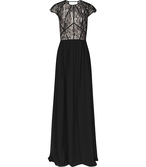 Eliza Lace Top Maxi Dress - style: maxi dress; secondary colour: nude; predominant colour: black; length: floor length; fit: fitted at waist & bust; fibres: polyester/polyamide - 100%; occasions: occasion; neckline: crew; hip detail: subtle/flattering hip detail; sleeve length: short sleeve; sleeve style: standard; pattern type: fabric; pattern size: standard; pattern: patterned/print; texture group: other - light to midweight; embellishment: lace; season: a/w 2015; wardrobe: event; embellishment location: top