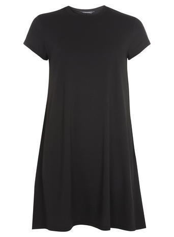 Womens Tall Black Mock Neck Tunic Black - sleeve style: capped; pattern: plain; style: tunic; predominant colour: black; occasions: casual; fibres: polyester/polyamide - stretch; fit: straight cut; neckline: crew; length: mid thigh; sleeve length: short sleeve; pattern type: fabric; texture group: jersey - stretchy/drapey; season: a/w 2015; wardrobe: basic