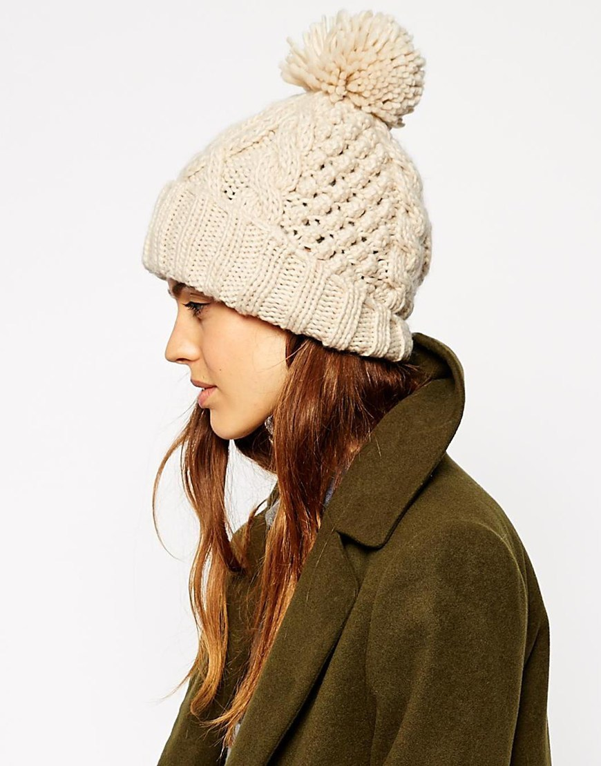 Cable Pom Beanie Cream - predominant colour: ivory/cream; occasions: casual; type of pattern: standard; style: beanie; size: standard; material: knits; pattern: knit; season: a/w 2015