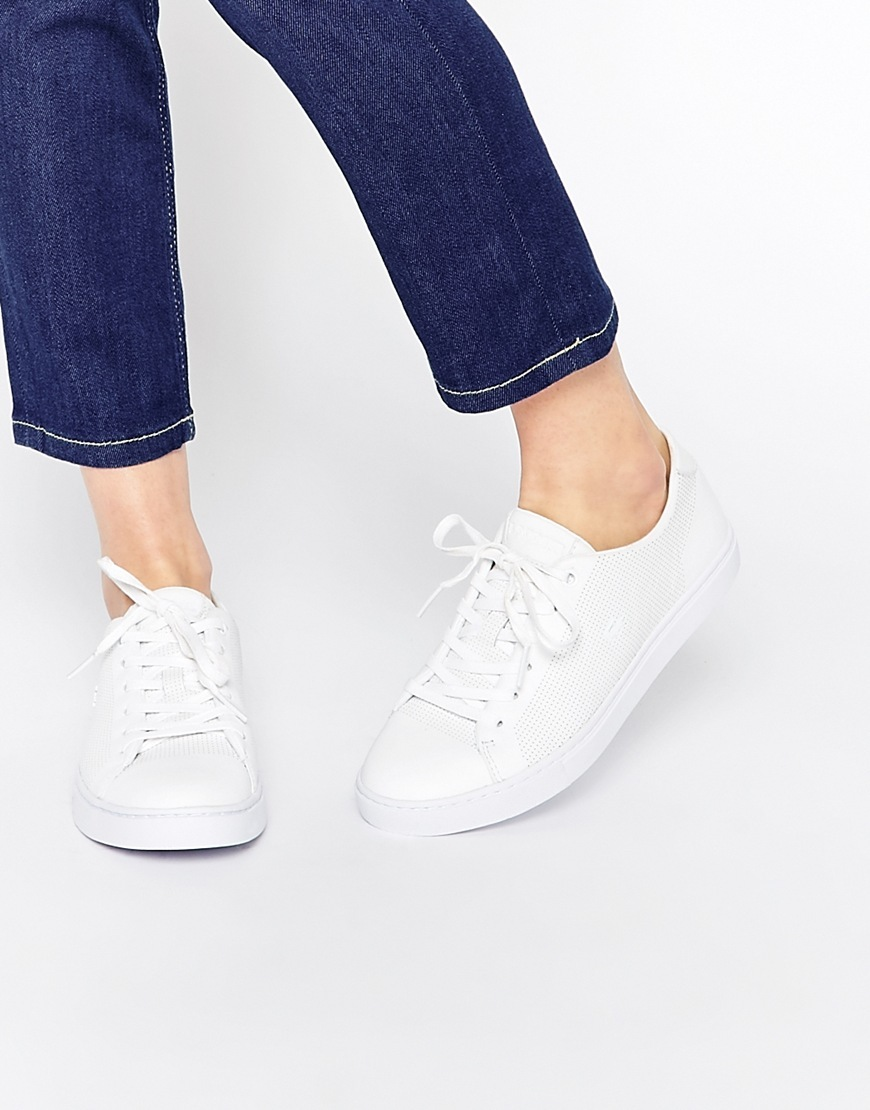 Showcourt Lace 1 White Leather Trainers White - predominant colour: white; occasions: casual; material: leather; heel height: flat; toe: round toe; style: trainers; finish: plain; pattern: plain; season: a/w 2015; wardrobe: basic