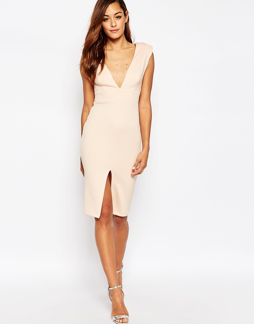 Asymmetric Plunge Shoulder Pad Scuba Midi Dress Nude - length: below the knee; neckline: low v-neck; sleeve style: capped; fit: tight; pattern: plain; style: bodycon; predominant colour: blush; fibres: polyester/polyamide - stretch; occasions: occasion; sleeve length: sleeveless; pattern type: fabric; texture group: jersey - stretchy/drapey; season: a/w 2015; wardrobe: event