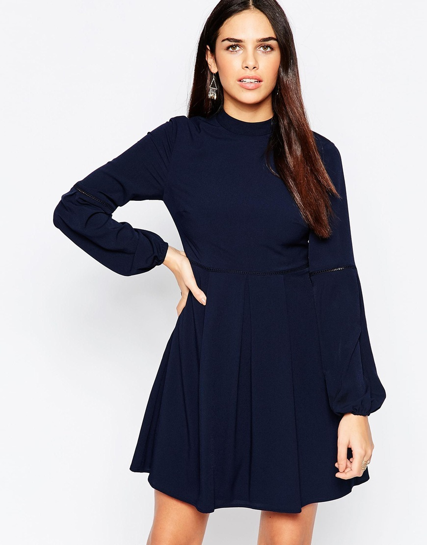 High Neck Baby Doll Dress Navy - length: mid thigh; pattern: plain; neckline: high neck; predominant colour: black; occasions: evening; fit: fitted at waist & bust; style: fit & flare; fibres: polyester/polyamide - 100%; sleeve length: long sleeve; sleeve style: standard; pattern type: fabric; texture group: jersey - stretchy/drapey; season: a/w 2015; wardrobe: event