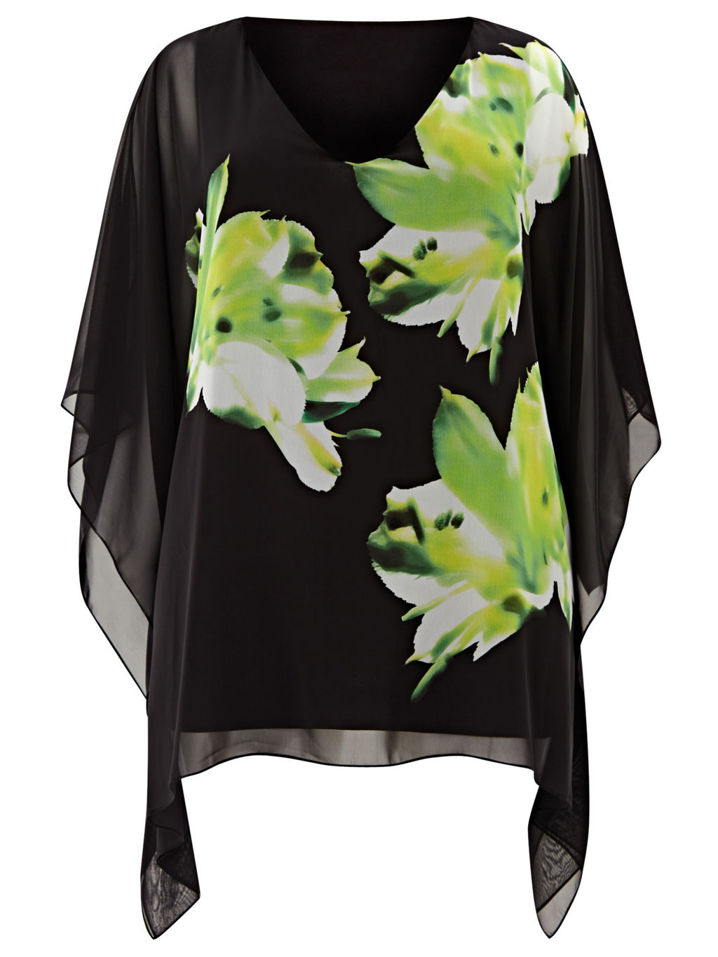 Floral Kaftan Top, Black/Multi - neckline: v-neck; length: below the bottom; style: kaftan; secondary colour: lime; predominant colour: black; occasions: evening, occasion; fibres: polyester/polyamide - 100%; fit: body skimming; sleeve length: 3/4 length; sleeve style: standard; texture group: sheer fabrics/chiffon/organza etc.; pattern type: fabric; pattern: florals; multicoloured: multicoloured; season: s/s 2016; wardrobe: event
