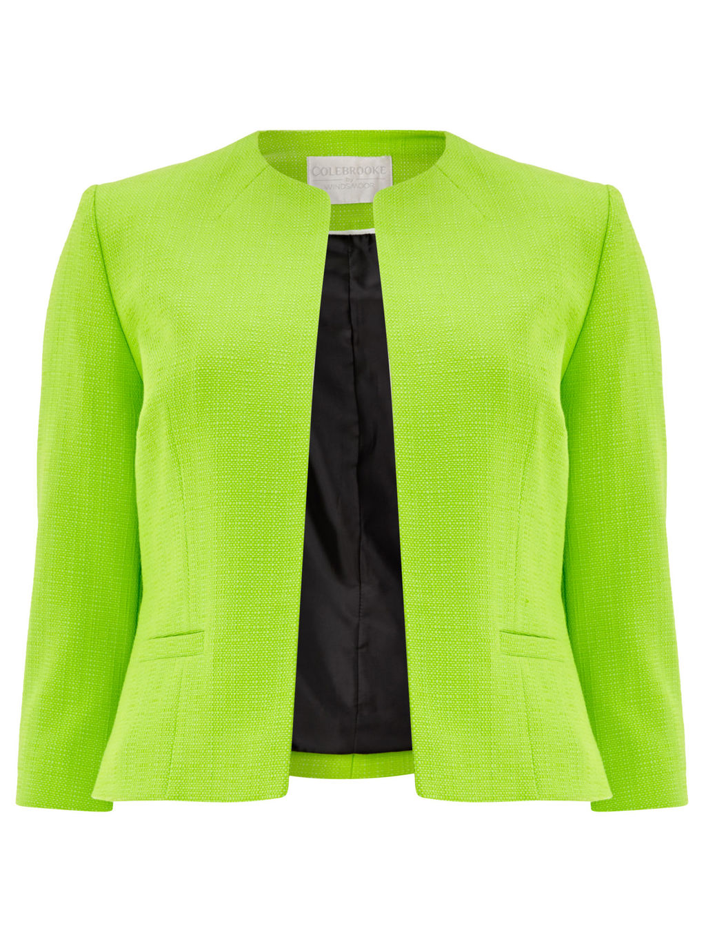 Edge To Edge Jacket, Bright Green - pattern: plain; style: single breasted blazer; collar: round collar/collarless; predominant colour: lime; fit: tailored/fitted; fibres: cotton - stretch; occasions: occasion; sleeve length: 3/4 length; sleeve style: standard; collar break: high; pattern type: fabric; texture group: woven light midweight; length: cropped; season: s/s 2016; wardrobe: event