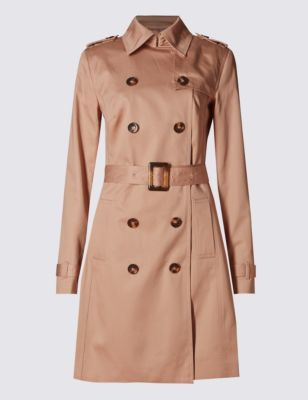 Pure Cotton Trench Coat With Stormwear™ - pattern: plain; style: trench coat; length: mid thigh; predominant colour: camel; occasions: casual, creative work; fit: tailored/fitted; fibres: cotton - 100%; collar: shirt collar/peter pan/zip with opening; waist detail: belted waist/tie at waist/drawstring; shoulder detail: subtle shoulder detail; sleeve length: long sleeve; sleeve style: standard; collar break: high; pattern type: fabric; texture group: woven light midweight; season: s/s 2016; trends: transitional must-haves; wardrobe: highlight; embellishment location: bust